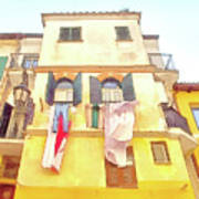 San Felice Circeo Building With The Put Clothes Art Print
