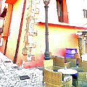 San Felice Circeo Chairs And Street Lamp Art Print