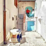 San Felice Circeo Man Puts On Clothes Art Print