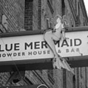 San Francisco Blue Mermaid Bw Art Print