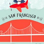San Francisco California Vertical Scene - Bird In Plane Over San Francisco Art Print