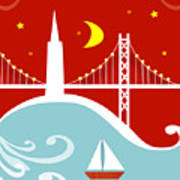 San Francisco California Vertical Scene - East Bay Bridge And Boat Art Print