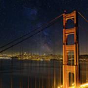 San Francisco City Skyline Through Golden Gate Bridge Art Print