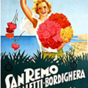 San Remo, Italian Riviera, Girl With Flowers Art Print