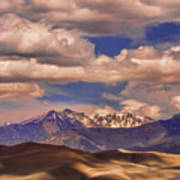 Sand Dunes - Mountains - Snow- Clouds And Shadows Art Print