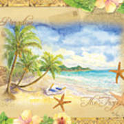 Sand Sea Sunshine On Tropical Beach Shores Art Print