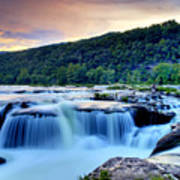 Sandstone Falls At Sunset In West Virginia   Hdr Art Print