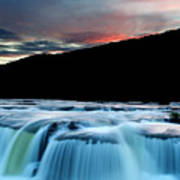 Sandstone Falls At Sunset In West Virginia Art Print