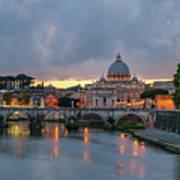 Sant Angelo Bridge At Dusk Art Print