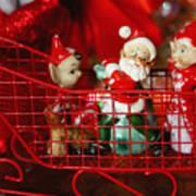 Santa And His Elves Art Print