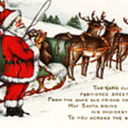 Santa And His Reindeer Greetings Merry Christmas Art Print