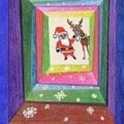 Santa And His Reindeer Art Print