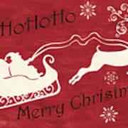 Santa And Reindeer Sleigh Art Print