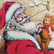 Santa And Teddy Art Print