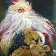 Santa Claus Riding Up Front With The Big Guy  Art Print