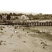 Santa Cruz Beach With Ideal Fish Restaurant 1930's Art Print