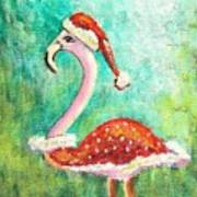 Santa Flamingo Art Print