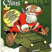 Santa In A Hurry Art Print