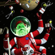 Santa In Space Art Print