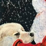 Santa Loves Dogs Art Print
