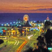 Santa Monica Ca  Pacific Park Pier Art Print