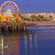 Santa Monica Pacific Park Pier And Lowes Hotel Art Print