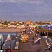 Santa Monica Pacific Park Pier Skyline Panoramic Art Print