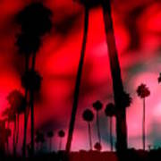 Santa Monica Palms Fiery Red Sunrise Silhouette Art Print