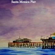 Santa Monica Pier At Night Art Print