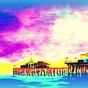Santa Monica Pier In Blue Art Print