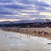 Santa Monica Sunset Panorama Art Print