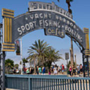 Santa Monica Yacht Harbor At Santa Monica Pier In Santa Monica California Dsc3669sq Art Print