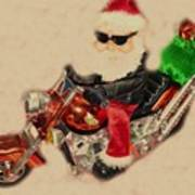 Santa On Motorcycle  Art Print