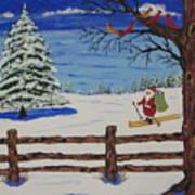Santa On Skis Art Print
