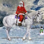 Santa Rides To Town Art Print