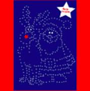 Santa Rudolph Stars Blue 2 Art Print
