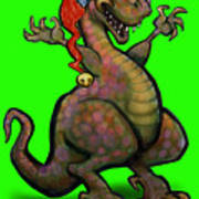Santa Saurus Rex Art Print