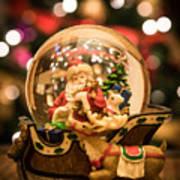 Santa Snow Globe Art Print