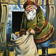 Santa Unpacks His Bag Of Toys On Christmas Eve Art Print