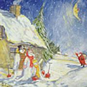 Santa's Visit Art Print