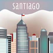 Santiago Chile Horizontal Skyline Art Print