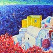 Santorini Oia Colors Modern Impressionist Impasto Palette Knife Oil Painting By Ana Maria Edulescu Art Print