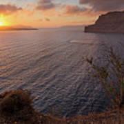 Santorini Sunset Caldera Art Print