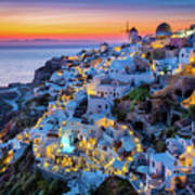 Santorini Sunset Art Print