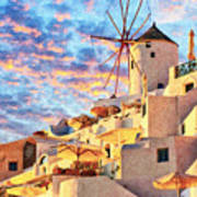 Santorini Windmill At Oia Digital Painting Art Print