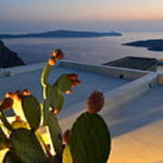 Santorini.fira Sunset Art Print