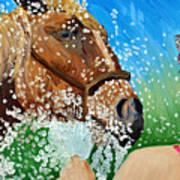 Sara Washes Her Horse Art Print