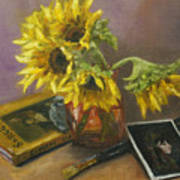 Sargent And Sunflowers Art Print