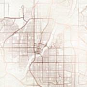 Saskatoon Street Map Colorful Copper Modern Minimalist Art Print
