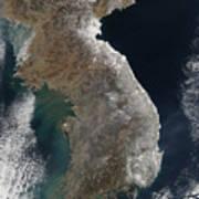 Satellite View Of Snowfall Along South Art Print